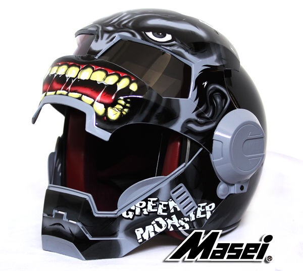 masei 610 gray hulk motorcycle bike chopper harley helmet
